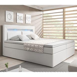 ArtLife Boxspringbett New Jersey 180 x 200cm weiß Bettkästen und Federkernmatratze aus Kunstleder - Bild 1