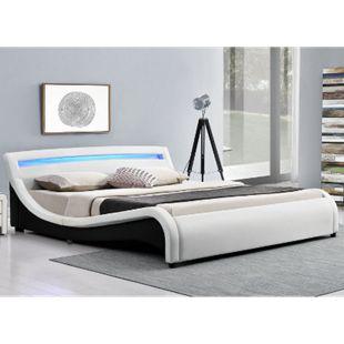 Polsterbett Malaga 140 x 200 cm weiß – Bett mit Lattenrost & LED Beleuchtung Kopfteil | ArtLife - Bild 1