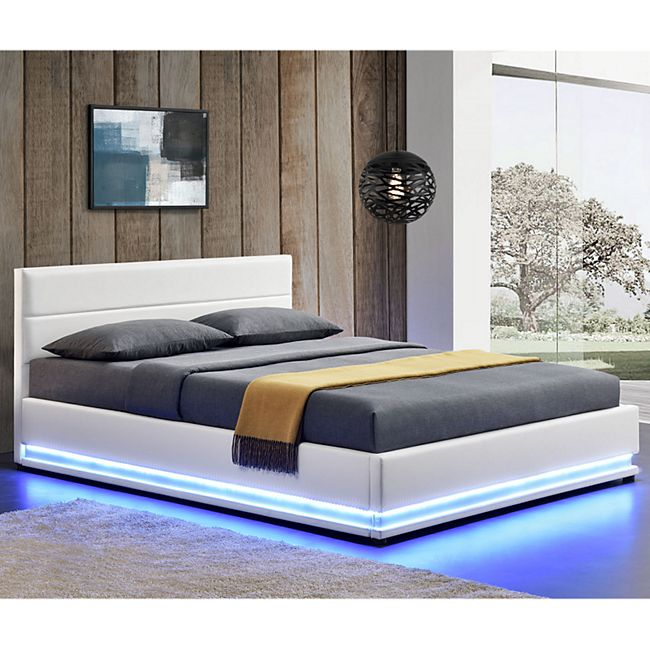 ArtLife Polsterbett Toulouse 140 x 200 cm mit rundum LED und Bettkasten - weiß - Bild 1