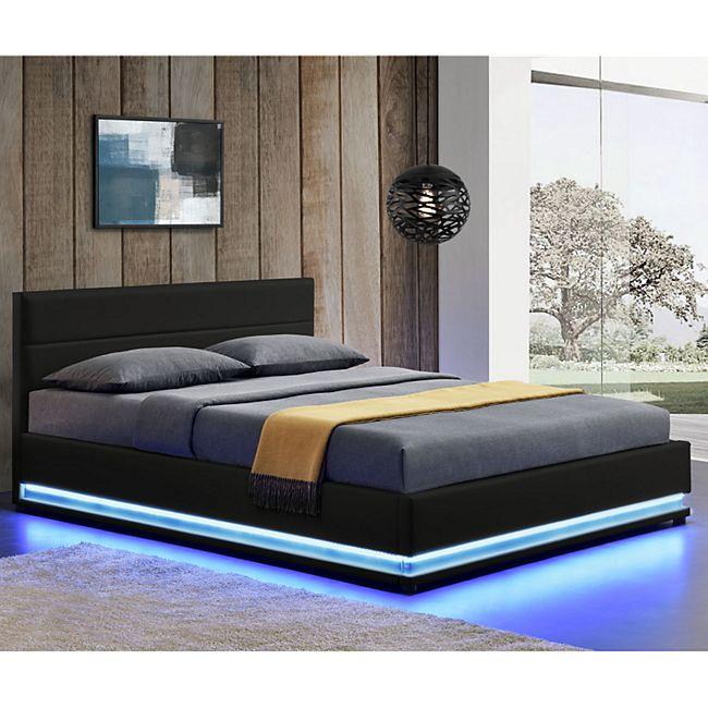 ArtLife Polsterbett Toulouse 140 x 200 cm mit rundum LED und Bettkasten - schwarz - Bild 1