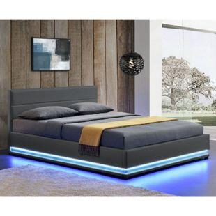 ArtLife Polsterbett Toulouse 140 x 200 cm mit rundum LED und Bettkasten - dunkelgrau - Bild 1