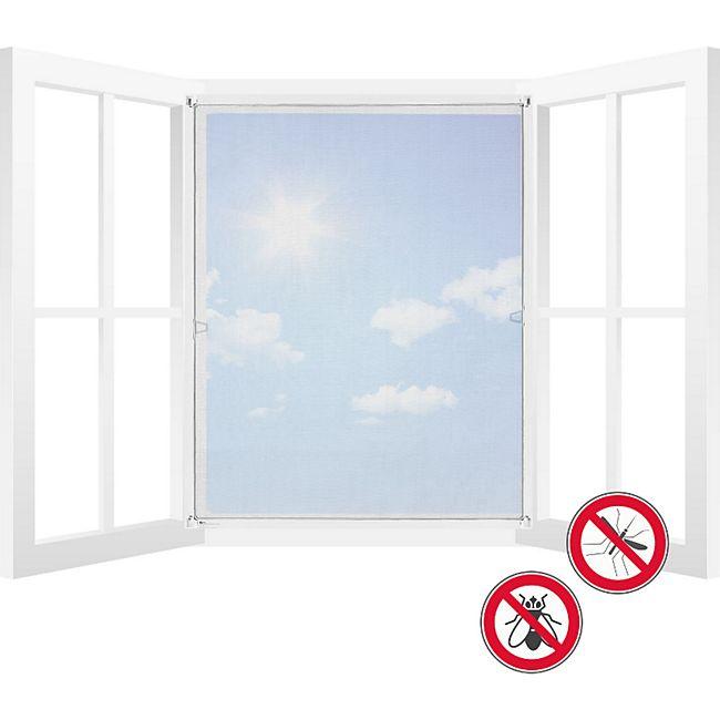 Juskys Fliegengitter für Fenster mit Rahmen 80 x 100 cm weiß Fliegenschutzgitter Insektenschutz - Bild 1