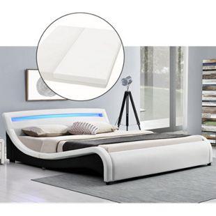 ArtLife Polsterbett Malaga 140 x 200 cm mit LED Kopfteil und Kaltschaummatratze in weiß - Bild 1