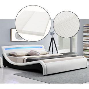 Polsterbett Malaga 180 x 200 cm weiß - Bett mit Matratze, Lattenrost & LED im Kopfteil | ArtLife - Bild 1