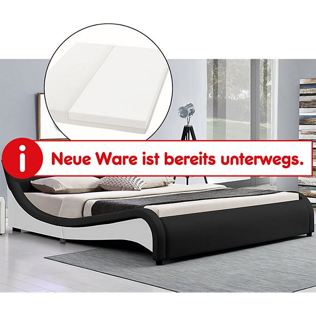 Polsterbett Malaga 140 x 200 cm schwarz - Bett mit Matratze, Lattenrost & LED im Kopfteil | ArtLife - Bild 1
