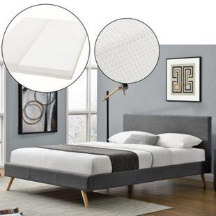 Polsterbett Toledo 140x200 cm dunkelgrau, Bett mit Lattenrost, Matratze und Kopfteil | Artlife - Bild 1