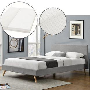 Polsterbett Toledo 140x200 cm hellgrau, Bett mit Lattenrost, Matratze und Kopfteil   Artlife - Bild 1