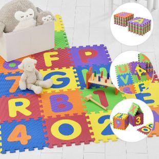 Kinder Puzzlematte Kim 36 Teile mit Buchstaben & Zahlen - rutschfest – Spielmatte bunt | Juskys - Bild 1