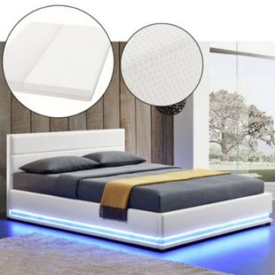 ArtLife Polsterbett Toulouse 140 x 200cm mit LED, Bettkasten und Kaltschaummatratze - weiß - Bild 1