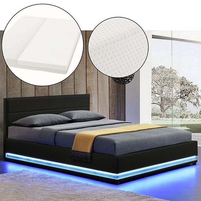 ArtLife Polsterbett Toulouse 140 x 200cm mit LED, Bettkasten und Kaltschaummatratze - schwarz - Bild 1