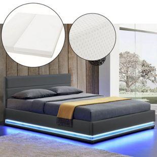 ArtLife Polsterbett Toulouse 140 x 200cm mit LED, Bettkasten und Kaltschaummatratze - dunkelgrau - Bild 1