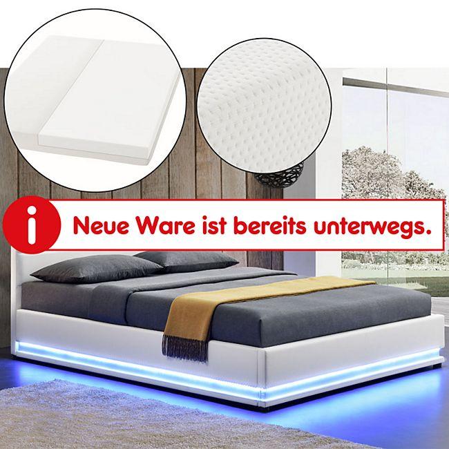 ArtLife Polsterbett Toulouse 180 x 200cm mit LED, Bettkasten und Kaltschaummatratze - weiß - Bild 1