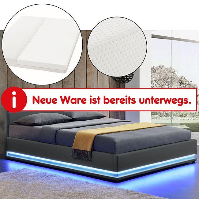 ArtLife Polsterbett Toulouse 180 x 200cm mit LED, Bettkasten und Kaltschaummatratze - dunkelgrau - Bild 1