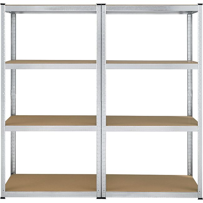 Lagerregal Easy 2er Set – Metall Schwerlastregal 160x80x40 cm, 8 Böden, 640 kg, verzinkt | Juskys - Bild 1