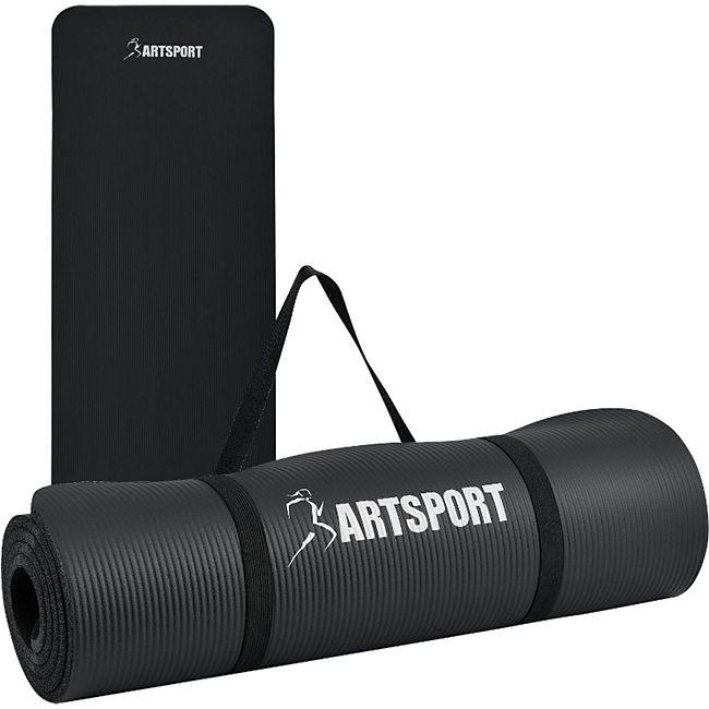 ArtSport Bodenmatte für Gymnastik, Yoga  und Fitness 185 x 60 x 1,0 cm in schwarz - Bild 1