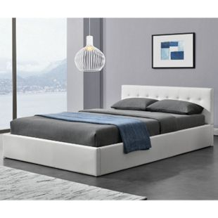 Polsterbett Marbella 140x200 cm weiß mit Bettkasten & Lattenrost – Bett mit Holzgestell | ArtLife - Bild 1