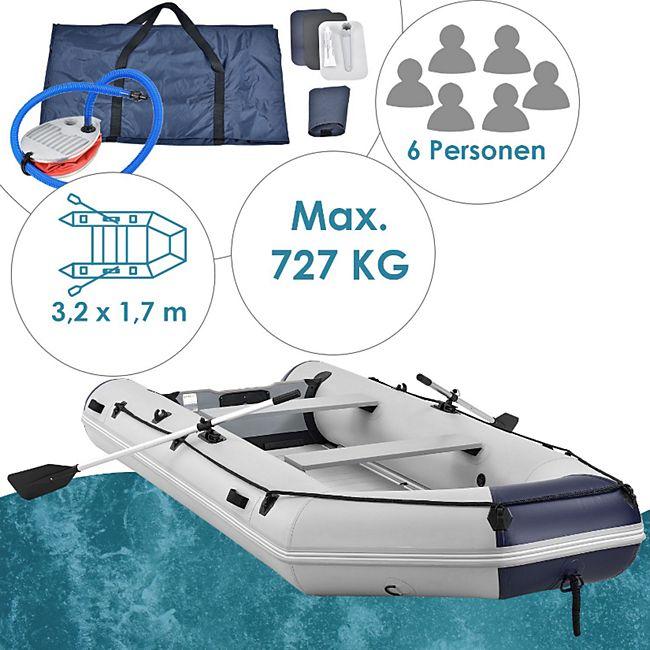 ArtSport Schlauchboot Paddelboot grau mit Aluboden - 3,80m - Bild 1