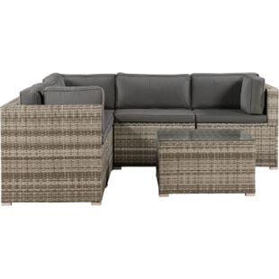 ArtLife Polyrattan Lounge Sitzgruppe Nassau beige-grau mit Bezügen in Dunkelgrau - Bild 1