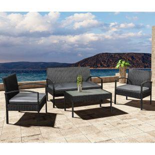 ArtLife Polyrattan Gartenmöbel Sitzgruppe Trinidad schwarz mit dunkelgrauen Bezügen - Bild 1