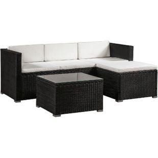 ArtLife Polyrattan Lounge Sitzgarnitur Punta Cana M schwarz mit Bezügen in Creme - Bild 1