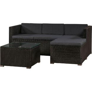 ArtLife Polyrattan Lounge Sitzgarnitur Punta Cana M schwarz mit Bezügen in Dunkelgrau - Bild 1