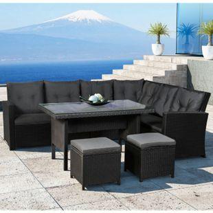 Juskys Polyrattan Lounge Sitzgarnitur Santa Catalina schwarz mit Bezügen in Dunkelgrau - Bild 1