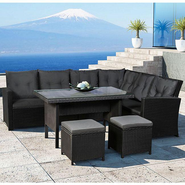 ArtLife Polyrattan Lounge Sitzgarnitur Santa Catalina schwarz mit Bezügen in Dunkelgrau - Bild 1