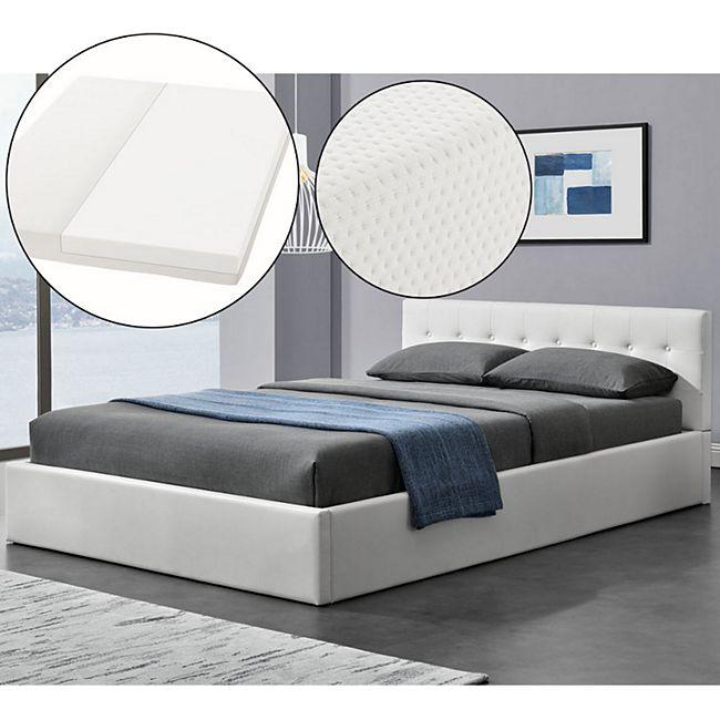 Polsterbett Marbella 140x200 cm weiß - Bett mit Matratze, Bettkasten & Lattenrost | ArtLife - Bild 1