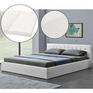 Polsterbett Marbella 180x200 cm weiß - Bett mit Matratze, Bettkasten & Lattenrost | ArtLife - Bild 1