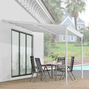 Juskys Aluminium Terrassendach Borneo 3x3m mit Doppelsteg-Platten weiß / transparent - Bild 1