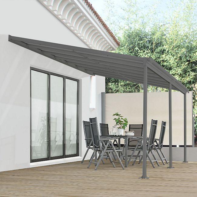 Juskys Aluminium Terrassendach Borneo 4x3m mit Doppelsteg-Platten in dunkelgrau - Bild 1