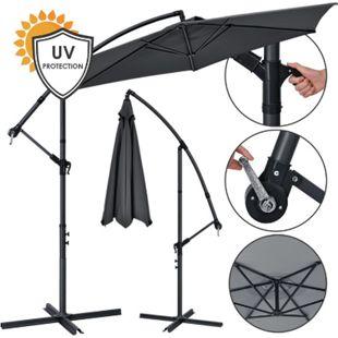 Juskys Ampelschirm Brazil 3 m Kurbel & Ständer – UV-Schutz wasserabweisend knickbar Sonnenschirm - Bild 1