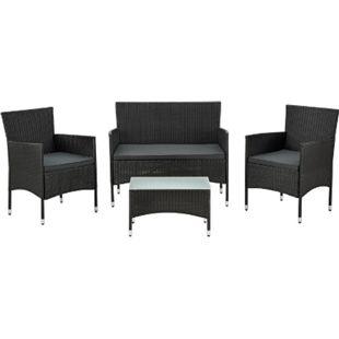 ArtLife Polyrattan Gartenmöbel Sitzgruppe Fort Myers in schwarz mit dunkelgrauen Bezügen - Bild 1
