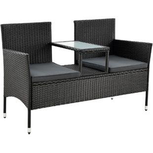 Polyrattan Gartenbank Monaco schwarz - 2-Sitzer Bank mit Tisch & Kissen - 133×63×84 cm | Juskys - Bild 1