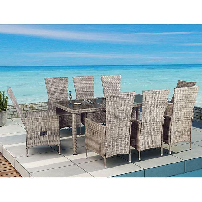 ArtLife Polyrattan Sitzgruppe Rimini Plus 9-teilig grau-meliert | Gartenmöbel Set mit Tisch, 8 Stühl - Bild 1