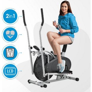 ArtSport Crosstrainer und Ergometer Fitnessgerät 2 in 1 Trainingsgerät LCD-Display Schwarz Silber - Bild 1