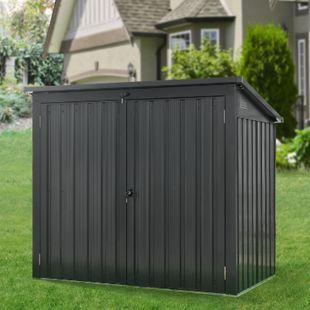 Juskys Mülltonnenbox Genk 1,6m² grau aus Metall mit 2 abschließbaren Türen - Bild 1