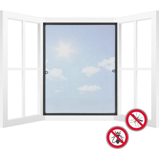 Juskys Fliegengitter für Fenster mit Rahmen 100x120 cm anthrazit Fliegenschutzgitter Insektenschut - Bild 1