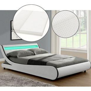 ArtLife Polsterbett Bett Valencia 140 x 200 cm weiß mit Kaltschaummatratze Einzelbett mit LED - Bild 1
