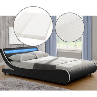 ArtLife Polsterbett Bett Valencia 140 x 200 cm schwarz mit Kaltschaummatratze Einzelbett mit LED - Bild 1