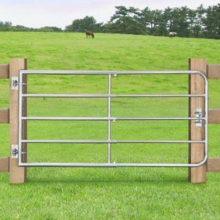 Juskys Weidezauntor Gartenzaun SafeGate S aus verzinktem Stahl, Scharniere & Riegel 170 x 90 cm - Bild 1