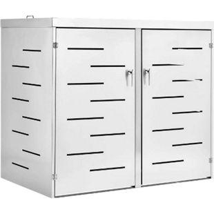 Juskys 2er Edelstahl Mülltonnenbox Arel mit Schiebedach & verschließbaren Türen - Bild 1