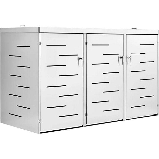 Juskys 3er Edelstahl Mülltonnenbox Arel mit Schiebedach & verschließbaren Türen - Bild 1