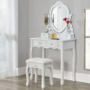 ArtLife Schminktisch Julia | Frisiertisch mit Spiegel, Hocker & 4 Schubladen | weiß | Mädchen Kinder - Bild 1