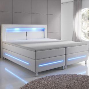 Boxspringbett Norfolk 140 x 200 cm – LED Beleuchtung, Bonell-Matratzen & Topper - weiß   Juskys - Bild 1