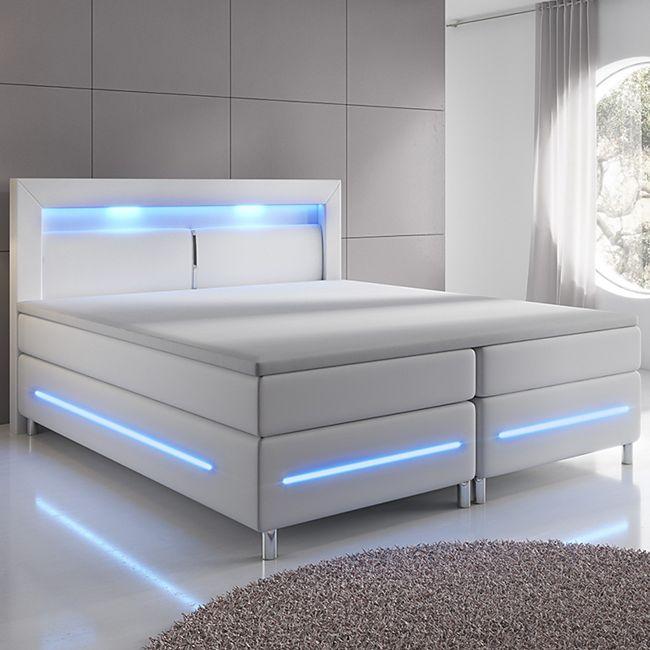 ArtLife Boxspringbett Norfolk (180 x 200, weiß) mit LED-Beleuchtung & Bonell-Federkernmatratze - Bild 1