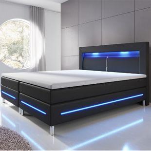 ArtLife Boxspringbett Norfolk (180 x 200, schwarz) mit LED-Beleuchtung & Bonell-Federkernmatratze - Bild 1