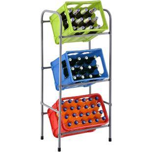 Juskys Getränkekistenregal Cool für 3 Kisten | Metall | 3 Ebenen | 50 × 34 × 116 cm | Getränkeregal - Bild 1