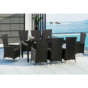 Polyrattan Gartenmöbel Rimini Plus schwarz 8 Personen – Tisch, 8 Stühle & Auflagen in Grau | Juskys - Bild 1