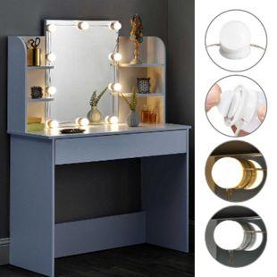 Juskys Schminktisch Bella mit LED-Beleuchtung, Spiegel, Schublade und Fächern   weiß   modern   MDF - Bild 1